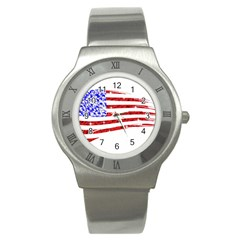 Sparkling American Flag Stainless Steel Watch (round) by artattack4all