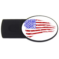 Sparkling American Flag 4gb Usb Flash Drive (oval) by artattack4all