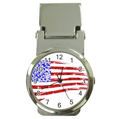 Sparkling American Flag Chrome Money Clip With Watch by artattack4all