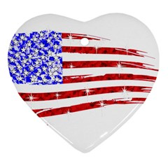 Sparkling American Flag Heart Ornament (two Sides) by artattack4all