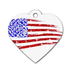Sparkling American Flag Single Sided Dog Tag (heart) by artattack4all
