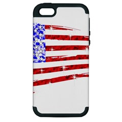 Sparkling American Flag Apple Iphone 5 Hardshell Case (pc+silicone) by artattack4all