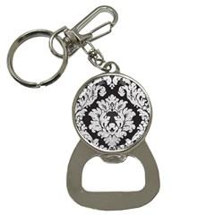 Diamond Bling Glitter On Damask Black Key Chain With Bottle Opener by artattack4all