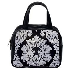 Diamond Bling Glitter On Damask Black Single Sided Satchel Handbag by artattack4all