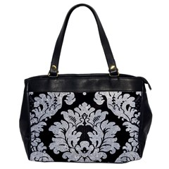 Diamond Bling Glitter On Damask Black Single Sided Oversized Handbag