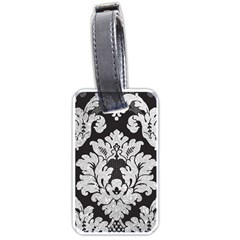 Diamond Bling Glitter On Damask Black Twin Sided Luggage Tag by artattack4all