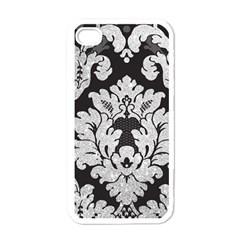 Diamond Bling Glitter On Damask Black White Apple Iphone 4 Case by artattack4all