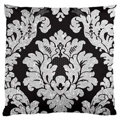 Diamond Bling Glitter On Damask Black Large Cushion Case (two Sides) by artattack4all