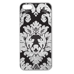 Diamond Bling Glitter On Damask Black Apple Seamless Iphone 5 Case (clear) by artattack4all