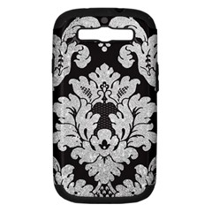 Diamond Bling Glitter On Damask Black Samsung Galaxy S Iii Hardshell Case (pc+silicone) by artattack4all