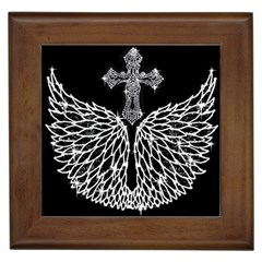 Bling Wings And Cross Framed Ceramic Tile by artattack4all