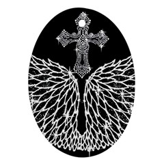 Bling Wings And Cross Ceramic Ornament (oval) by artattack4all