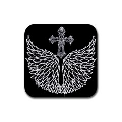 Bling Wings And Cross 4 Pack Rubber Drinks Coaster (square) by artattack4all
