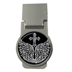 Bling Wings And Cross Money Clip (round) by artattack4all