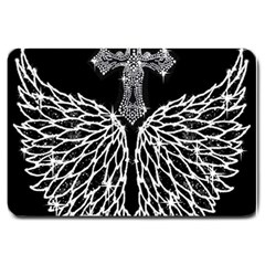 Bling Wings And Cross Large Door Mat by artattack4all