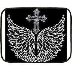 Bling Wings And Cross Twin Sided Mini Fleece Blanket by artattack4all