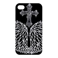 Bling Wings And Cross Apple Iphone 4/4s Premium Hardshell Case by artattack4all