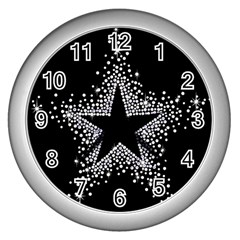 Sparkling Bling Star Cluster Silver Wall Clock by artattack4all