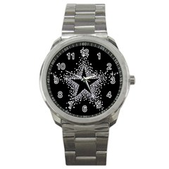 Sparkling Bling Star Cluster Stainless Steel Sports Watch (round) by artattack4all