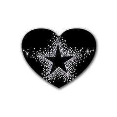 Sparkling Bling Star Cluster Rubber Drinks Coaster (heart) by artattack4all
