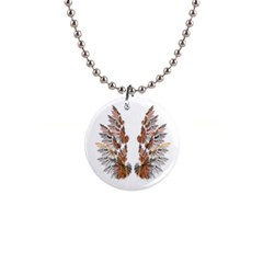 Brown Feather Wing Mini Button Necklace