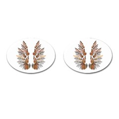 Brown Feather Wing Oval Cuff Links by artattack4all