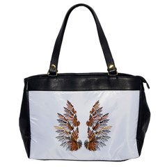 Brown Feather Wing Single Sided Oversized Handbag