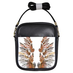 Brown Feather Wing Kids  Sling Bag by artattack4all