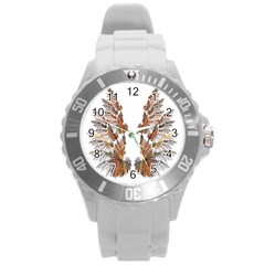Brown Feather Wing Round Plastic Sport Watch Large by artattack4all