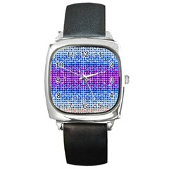 Rainbow of Colors, Bling and Glitter Black Leather Watch (Square) by artattack4all