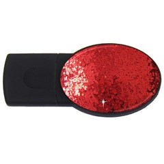 Sequin And Glitter Red Bling 2gb Usb Flash Drive (oval) by artattack4all