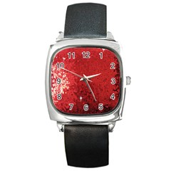 Sequin And Glitter Red Bling Black Leather Watch (square) by artattack4all
