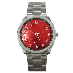 Sequin And Glitter Red Bling Stainless Steel Sports Watch (round) by artattack4all