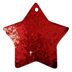 Sequin And Glitter Red Bling Twin Sided Ceramic Ornament (star) by artattack4all