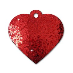 Sequin And Glitter Red Bling Twin Sided Dog Tag (heart) by artattack4all