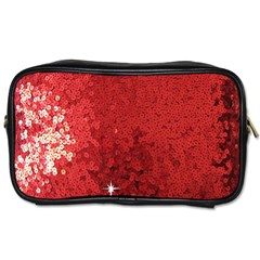 Sequin And Glitter Red Bling Single Sided Personal Care Bag by artattack4all