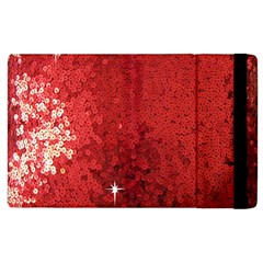 Sequin And Glitter Red Bling Apple Ipad 2 Flip Case by artattack4all