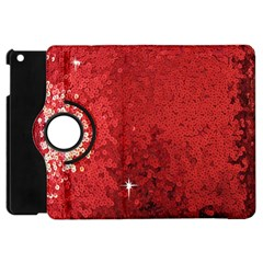 Sequin And Glitter Red Bling Apple Ipad Mini Flip 360 Case by artattack4all