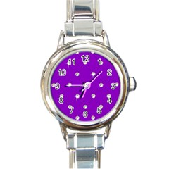 Royal Purple And Silver Bead Bling Classic Elegant Ladies Watch (round) by artattack4all