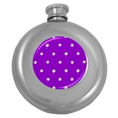 Royal Purple And Silver Bead Bling Hip Flask (round) by artattack4all