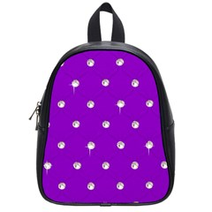 Royal Purple And Silver Bead Bling Small School Backpack by artattack4all