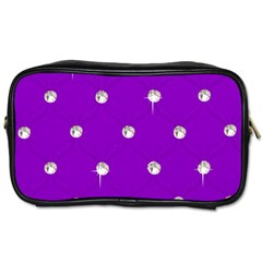 Royal Purple And Silver Bead Bling Twin Sided Personal Care Bag by artattack4all