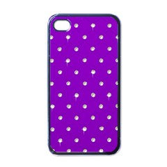Royal Purple And Silver Bead Bling Black Apple Iphone 4 Case by artattack4all