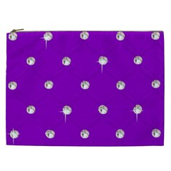 Royal Purple And Silver Bead Bling Cosmetic Bag (xxl) by artattack4all