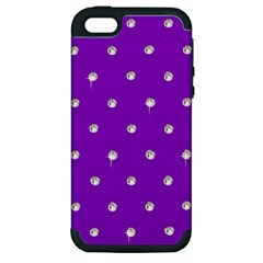 Royal Purple And Silver Bead Bling Apple Iphone 5 Hardshell Case (pc+silicone) by artattack4all