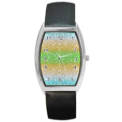 Diamond Cluster Color Bling Black Leather Watch (tonneau) by artattack4all