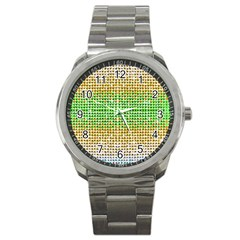 Diamond Cluster Color Bling Stainless Steel Sports Watch (round) by artattack4all