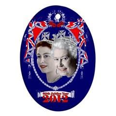 Queen Elizabeth 2012 Jubilee Year Ceramic Ornament (oval) by artattack4all