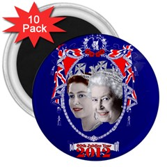 Queen Elizabeth 2012 Jubilee Year 10 Pack Large Magnet (round) by artattack4all