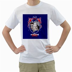 Queen Elizabeth 2012 Jubilee Year White Mens  T Shirt by artattack4all